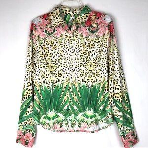 Elie Tahari snap front print blouse